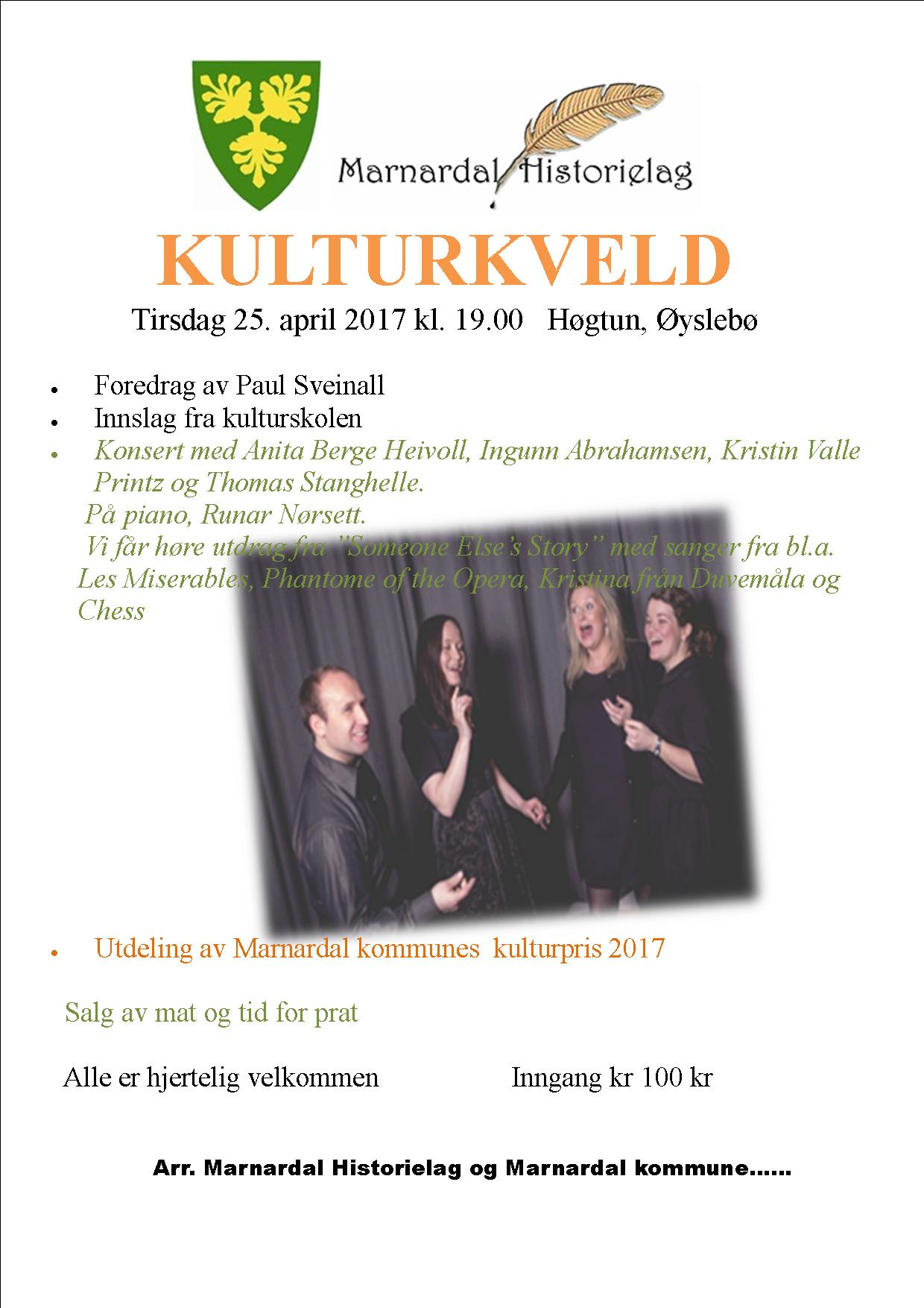 Plakat med program for Kulturkvelden i Marnardal 2017